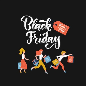 Black friday crowd of women running to the store on sale.   illustration. lettering text with red tag on dark background. square banner with pretty girls holding shopping bags in hands,.