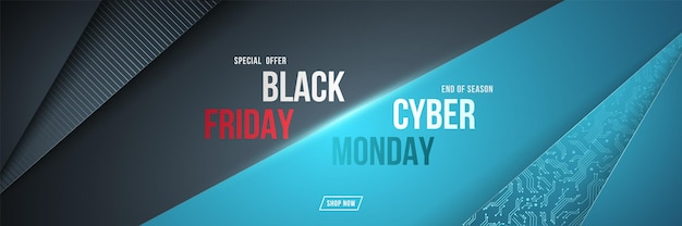 Black friday and cyber monday horizontal banner