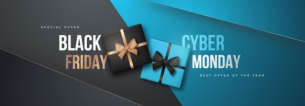 Black friday and cyber monday long banner