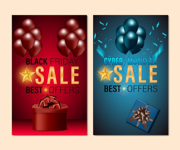 Black friday and cyber monday sale banner set concept background