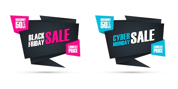 Black friday and cyber monday sale special offer commercial signs for business, promotion and advertising. discount up to 50% off.