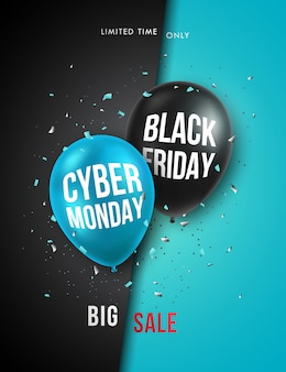 Black friday and cyber monday vertical banner.