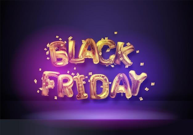 Black friday dark background with golden foil balloons. web site template design. online shopping. vector illustration.