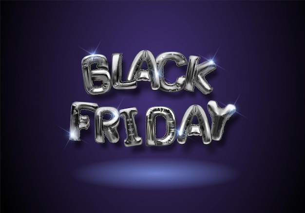 Black friday dark background with silver foil balloons. web site template design. online shopping. vector illustration.