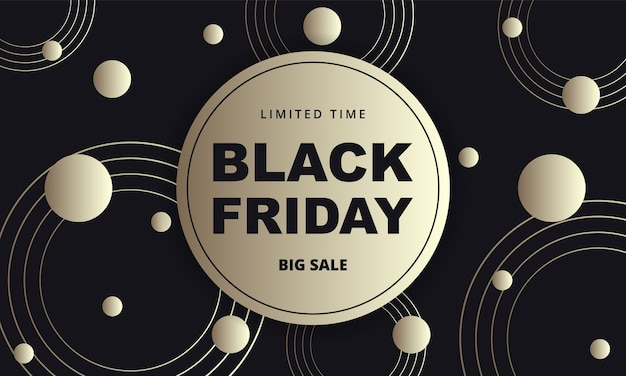 Black friday dark golden abstract banner. black friday luxury banner template with black and gold abstract circles on black background.