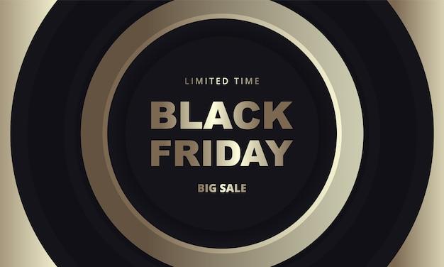 ブラックフライデーのダークゴールデンバナー。暗い背景に黒と金の円で黒金曜日の豪華なバナーテンプレート。