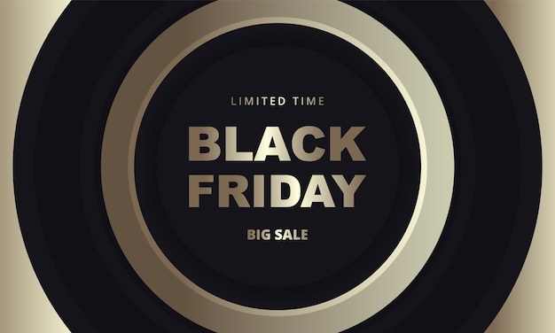 Black friday dark golden banner. black friday luxury banner template with black and gold circles on dark background.