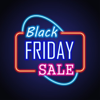 Black friday day sale with neon sign effect for black friday day event