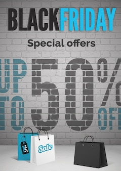Black friday day special offers realistic  poster template. supermarket bags 3d illustration. discounts for customers promotion. 50 percent off sale advertising banner layout