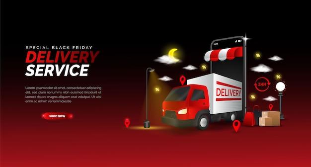 Black friday design for promotional delivery of goods