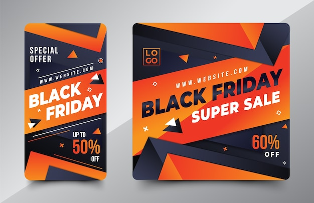 Black friday design template for social media instagram story and post
