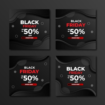 Black friday design template for social media post and stories