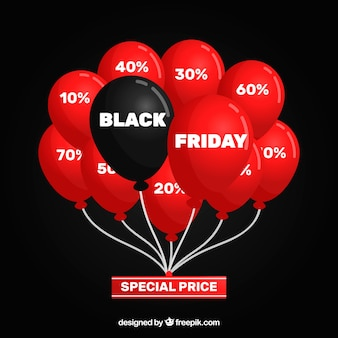 많은 빨간색과 검은 색 풍선이 많은 검은 금요일 디자인