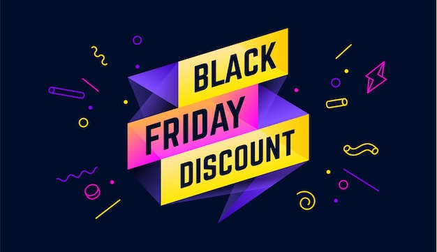 Black friday discount. 3d sale banner with text black friday discount for emotion, motivation.
