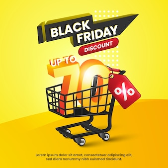 Black friday discount and black trolley on yellow background