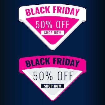 Black friday discount modern banner with dark background. sale 50 off concept.