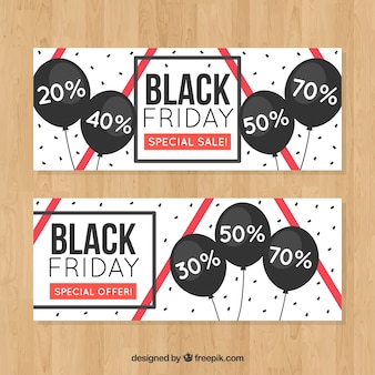 Black friday discounts banners with balloons