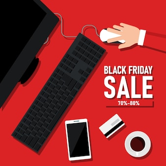 Black friday discounts flyer design with computer