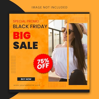 Black friday editable instagram post and website banner template
