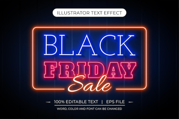 검은 금요일 편집 가능한 네온 불빛 크리에이티브 텍스트 효과