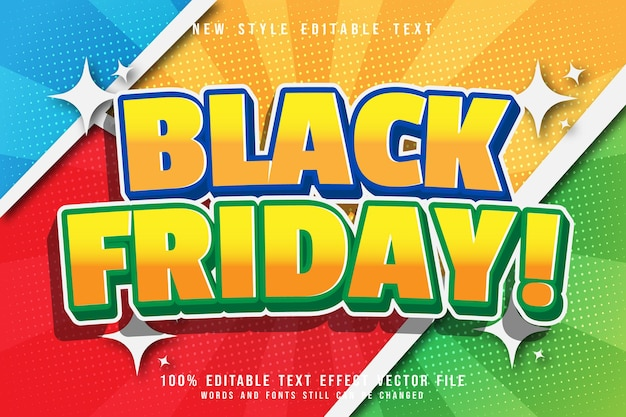 Black friday editable text effect emboss comic style