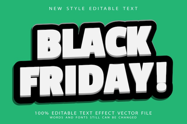 Black friday editable text effect emboss modern style
