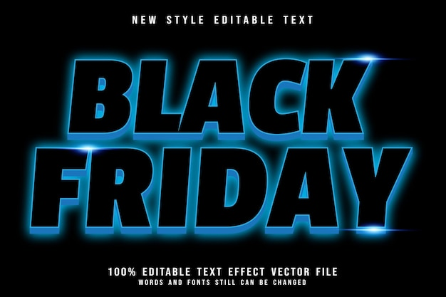 Black friday editable text effect emboss neon style