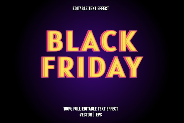 Black friday editable text effect yellow and pink color
