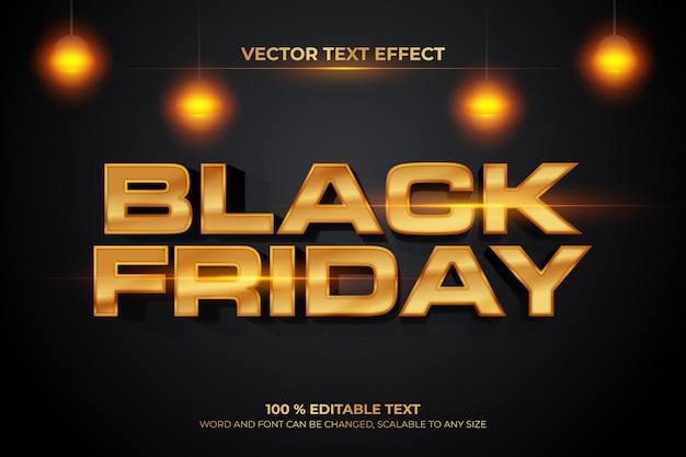 Black friday editable text with gold effect Premium Vector