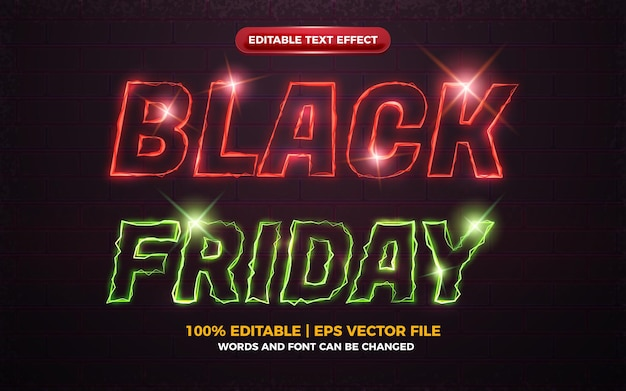 Black friday electric neon light glow shiny bold editable text effect