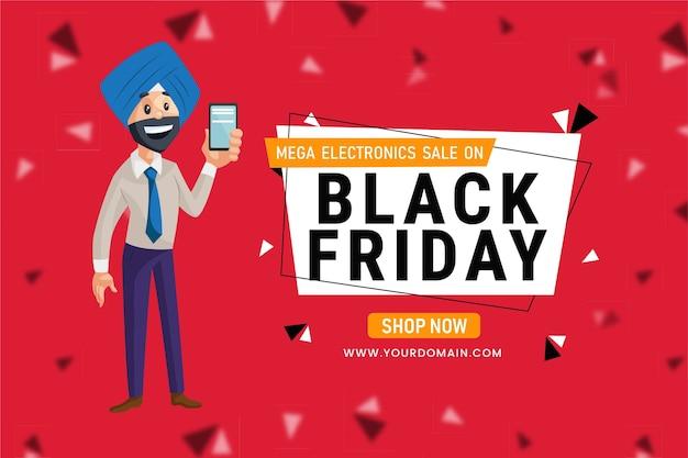 Black friday electronics sale banner design
