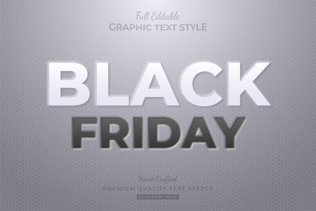 Black friday embossed editable text style effect premium
