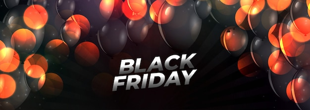 Black friday event banner with flying balloons