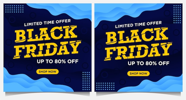 ブラックフライデーイベントバナー、ソーシャルメディアの投稿、紙のカットスタイルの黄色と青の色の背景テンプレート Premiumベクター