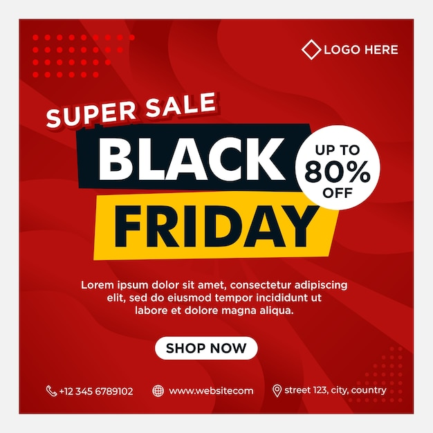 Black friday event banners, social media post and background template in red color with gradient style