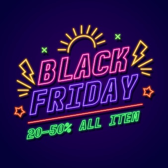 Black friday event sale in neon style