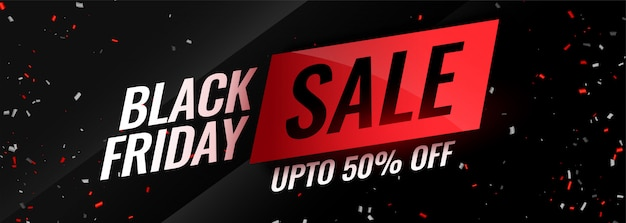 Black friday event sale with confetti