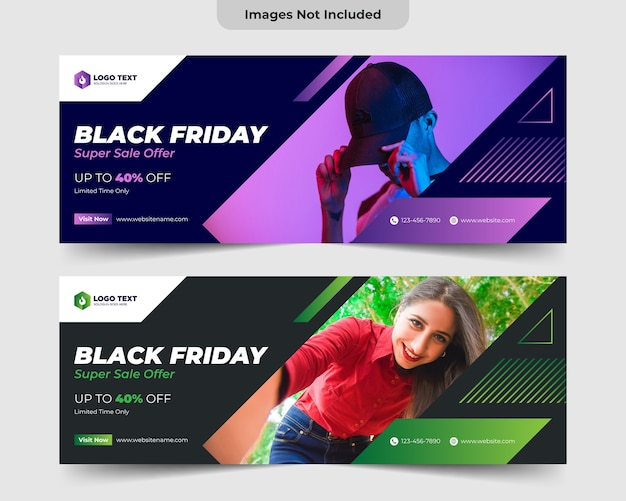 Black friday facebook cover banner template