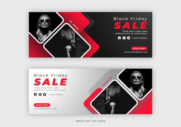 Черная пятница facebook обложка веб-баннер шаблон