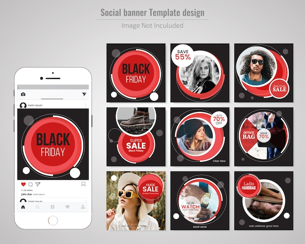 Black friday fashin social media post template
