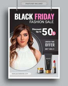 Black friday fashion sale promotion poster flyer social media template