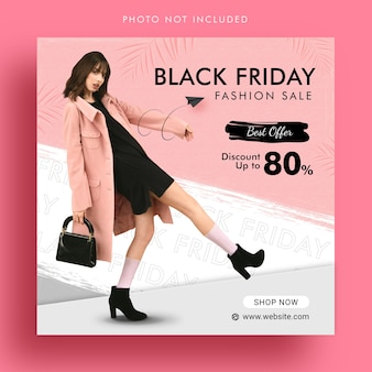 Black friday fashion sale promotion social media instagram post banner template