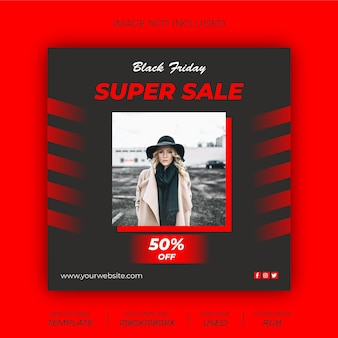 Шаблон сообщения в социальных сетях черная пятница fashion sale