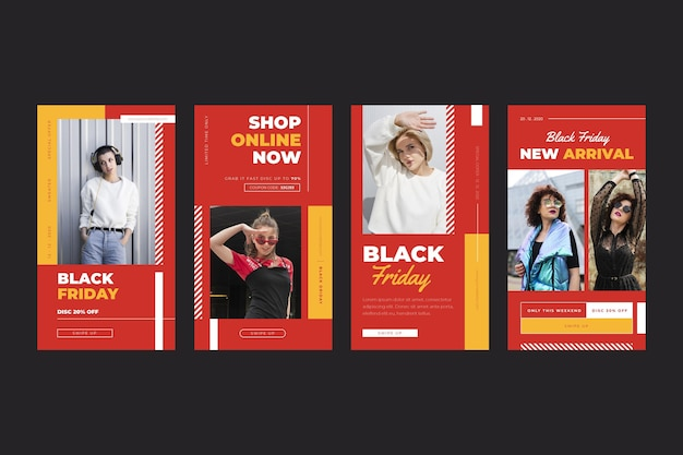Black friday flat design instagram stories