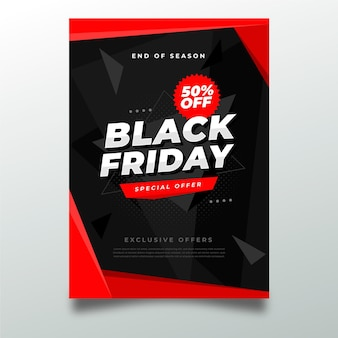 Черная пятница плоский дизайн шаблона флаера
