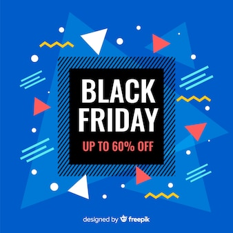 Black friday in flat design with memphis