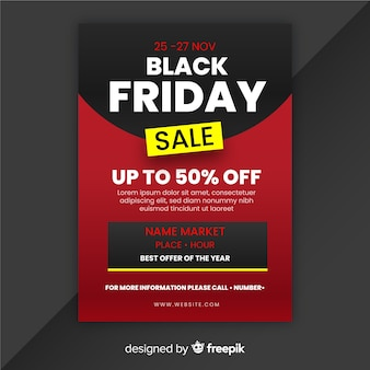 Black friday flyer in flat design style