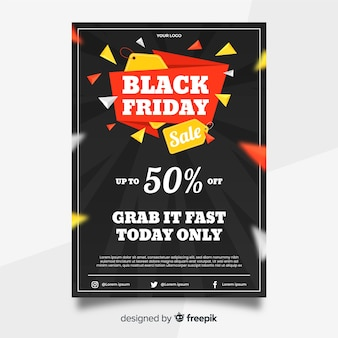 Black friday flyer in flat design