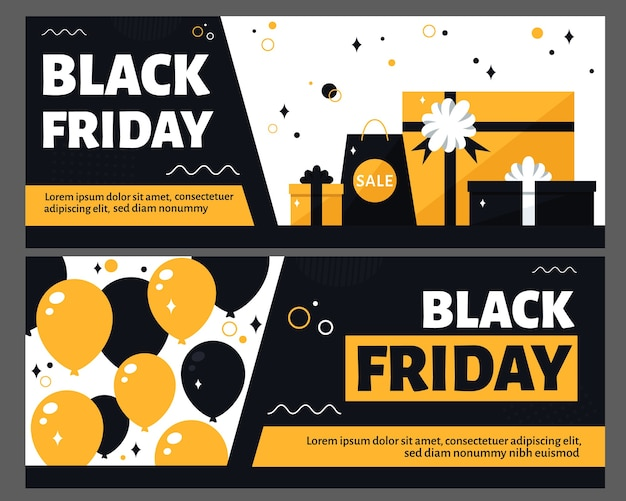 Black friday flyer set.  in flat style.