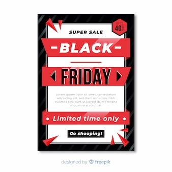 Black friday flyer template in flat design